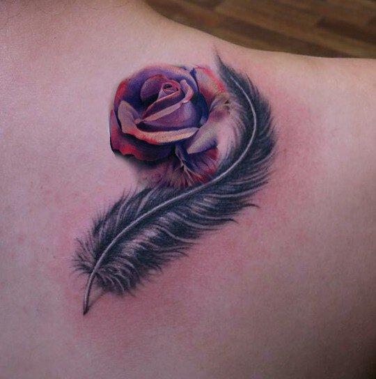 plume rose tatouage amazone. Black Bedroom Furniture Sets. Home Design Ideas
